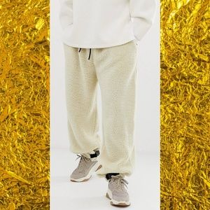 ASOS tapered jogger in teddy Borg with clip hem
